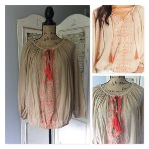 Lucky Brand Boho Peasant Top Sz M